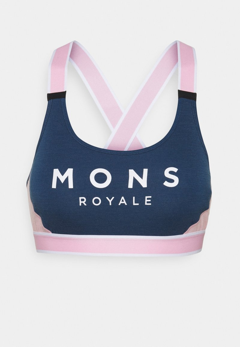 Mons Royale - STELLA X BACK BRA - Light support sports bra - dark denim/powder pink