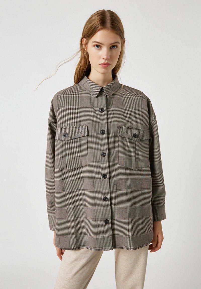PULL&BEAR - Button-down blouse - mottled black