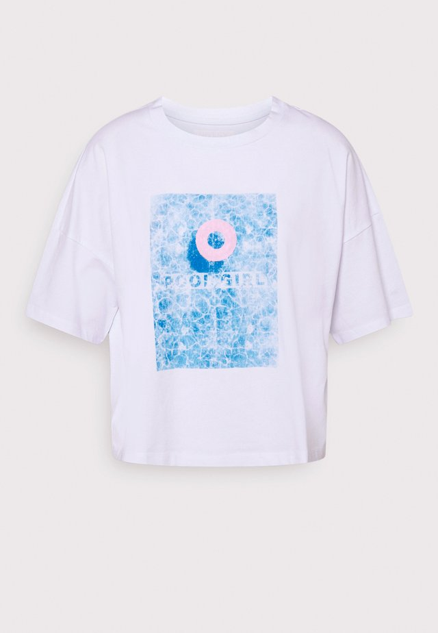 NMAMY  - T-shirt con stampa - bright white/pool