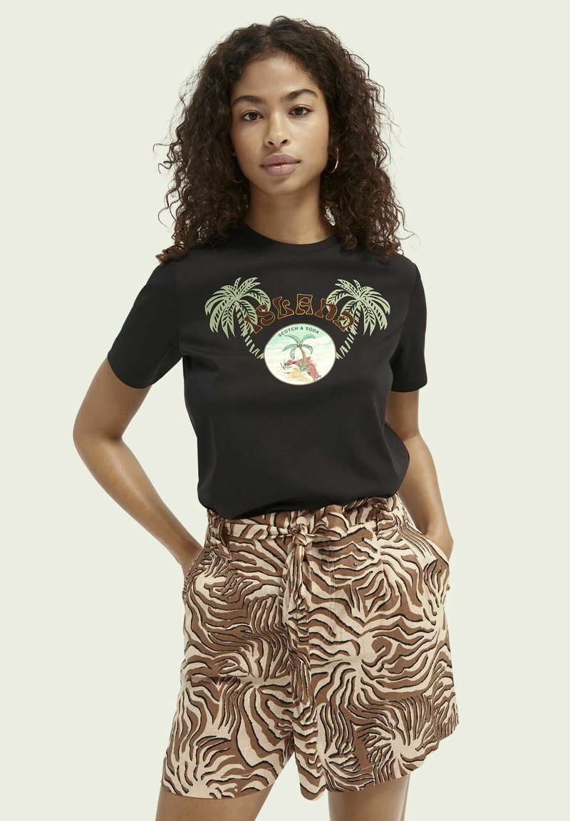 Scotch & Soda - Print T-shirt - black