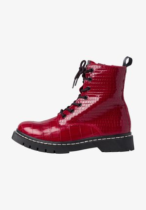 Lace-up ankle boots - red croco