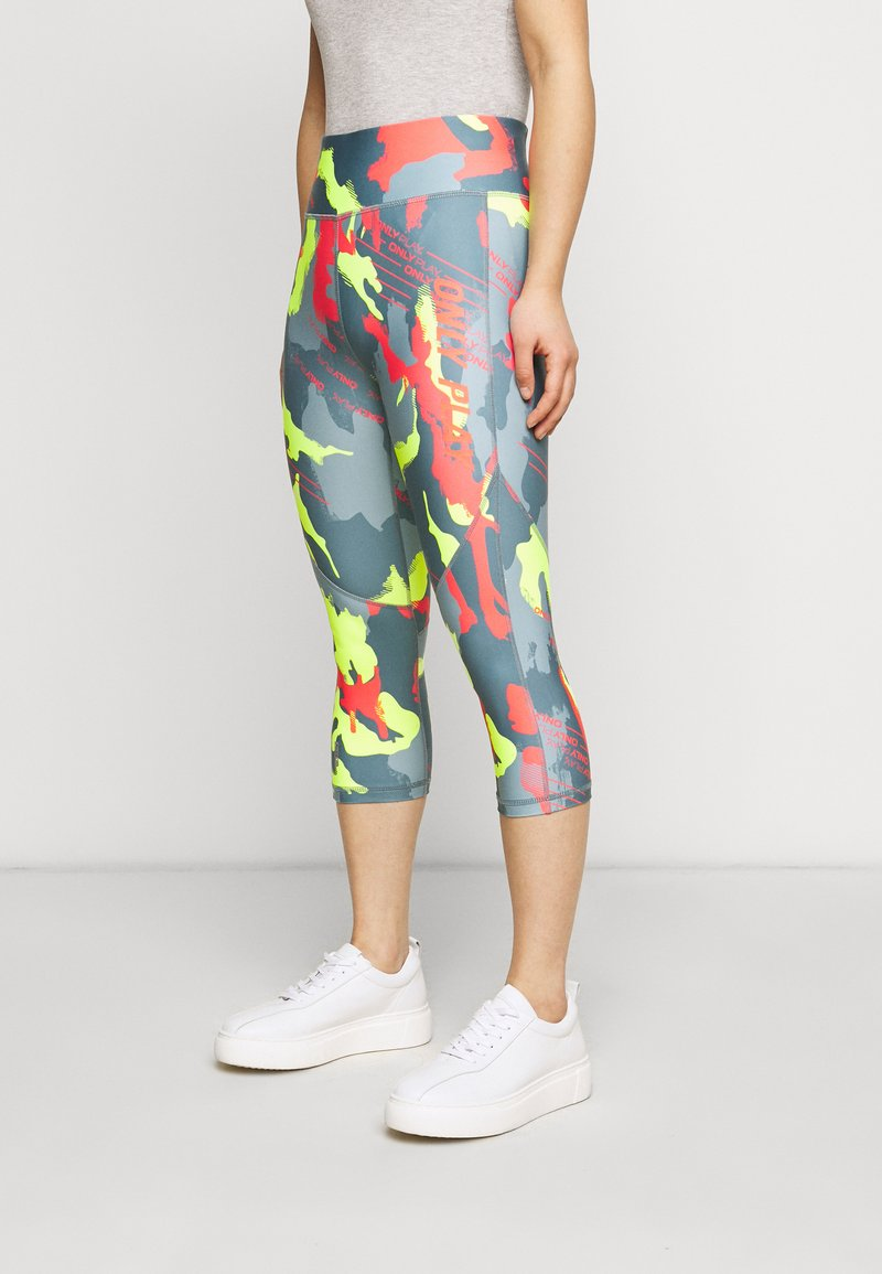 ONLY PLAY Petite - ONPALECXIA LIFE - Leggings - Trousers - goblin blue/safety yellow