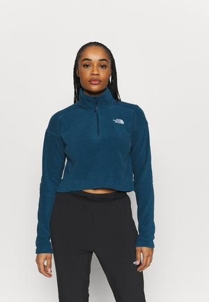 GLACIER CROPPED ZIP - Fleece trui - monterey blue