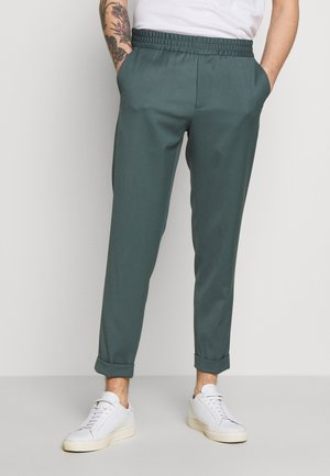 TERRY CROPPED PANTS - Trousers - dark mint powder
