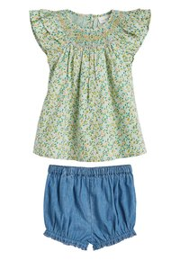 Next - GREEN 2 PIECE GOTS ORGANIC COTTON BLOUSE AND BLOOMER SET (0MTHS- - Denim shorts - green - 0