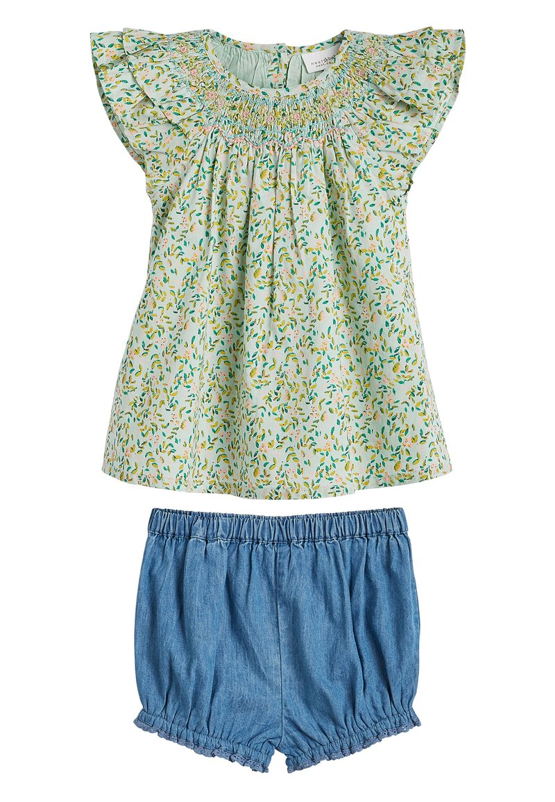 Next - GREEN 2 PIECE GOTS ORGANIC COTTON BLOUSE AND BLOOMER SET (0MTHS- - Denim shorts - green