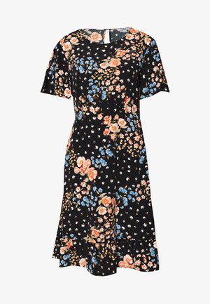 FLORAL SLEEVE EMPIRE SEAM MINI DRESS - Day dress - black