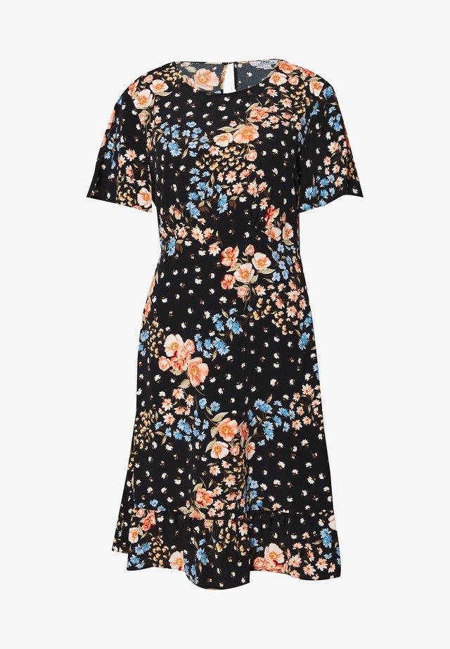 FLORAL SLEEVE EMPIRE SEAM MINI DRESS - Korte jurk - black