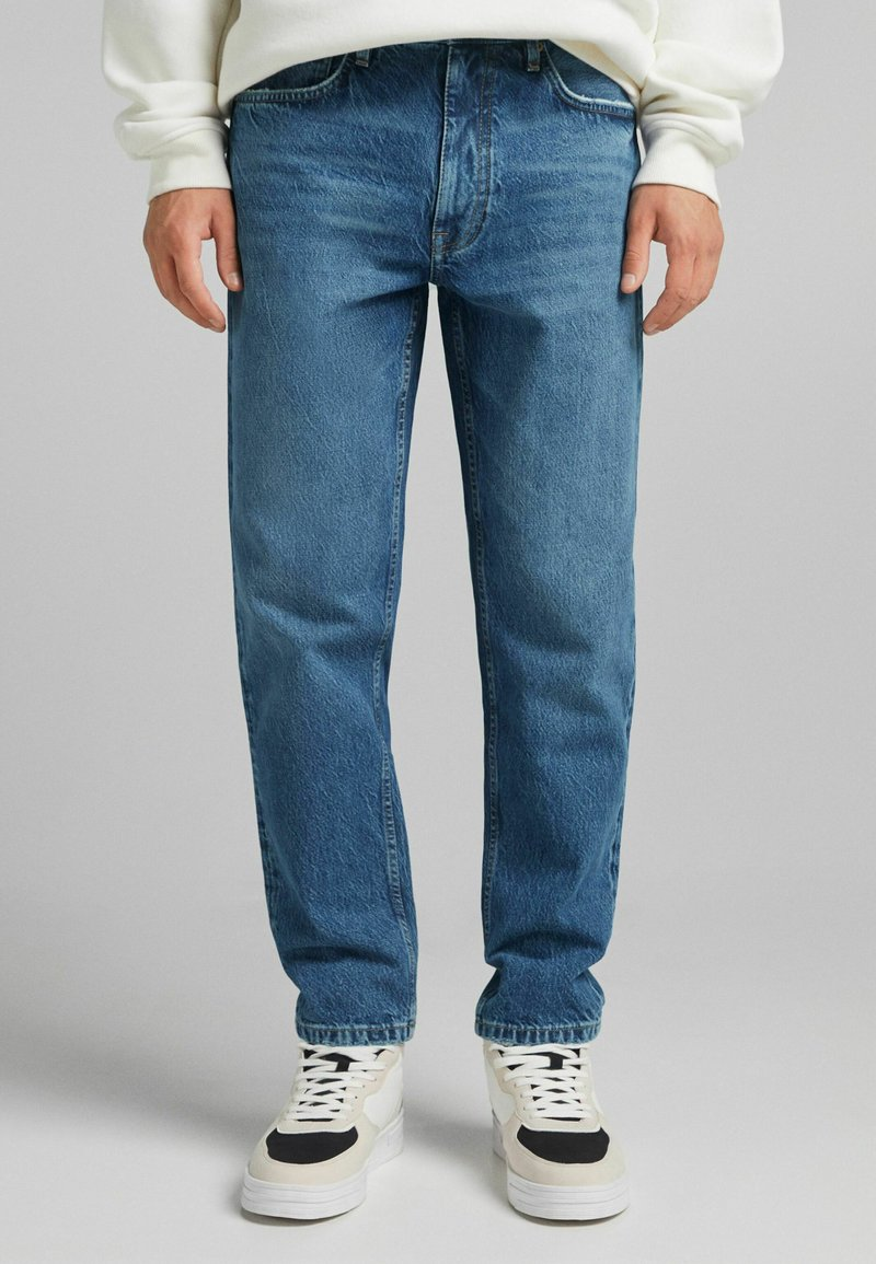 Bershka - STRAIGHT VINTAGE - Relaxed fit jeans - dark blue