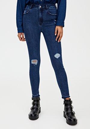 MIT HOHEM BUND - Jeansy Skinny Fit - dark blue