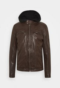 DRINK - Leather jacket - chocolate