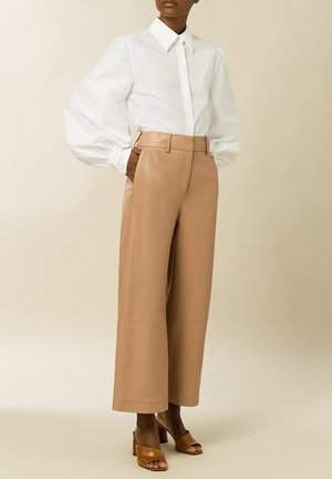 CULOTTE - Leather trousers - camel