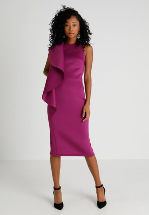 WOW SIDE FRILL BODYCON - Sukienka koktajlowa - purple