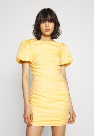 THE CUTEST RUCHED DRESS - Cocktail dress / Party dress - light yellow