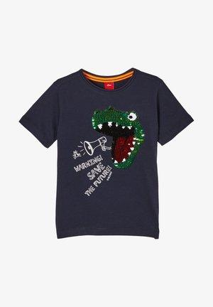 MIT PAILLETTEN-MOTIV - T-shirt print - dark blue