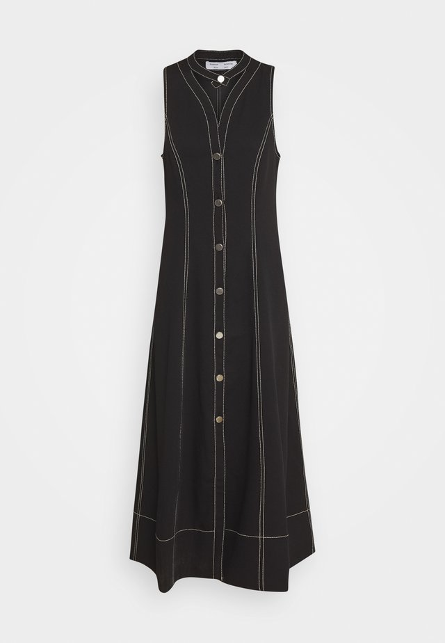 RUMPLED BUTTON FRONT DRESS - Košilové šaty - black