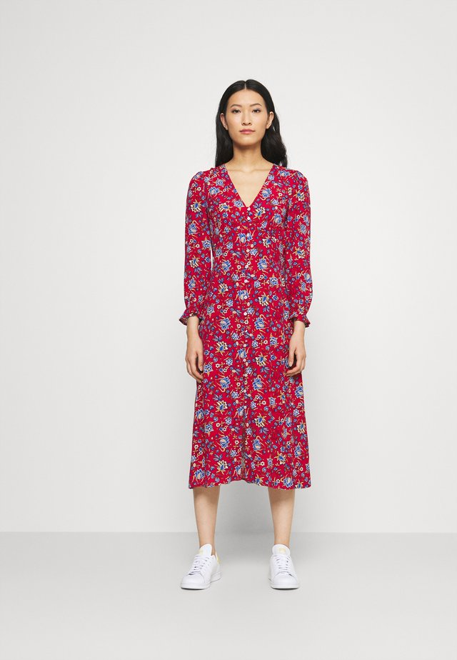 MIDI FLOR INDIA - Vestido informal - red/coral