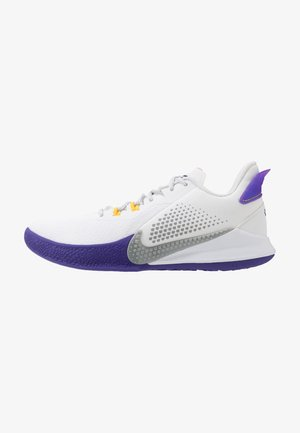 MAMBA FURY - Zapatillas de baloncesto - white/light smoke grey/field purple/amarillo