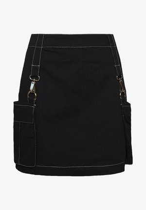 MINI SKIRT WITH TRIGGERS - Minisukně - black