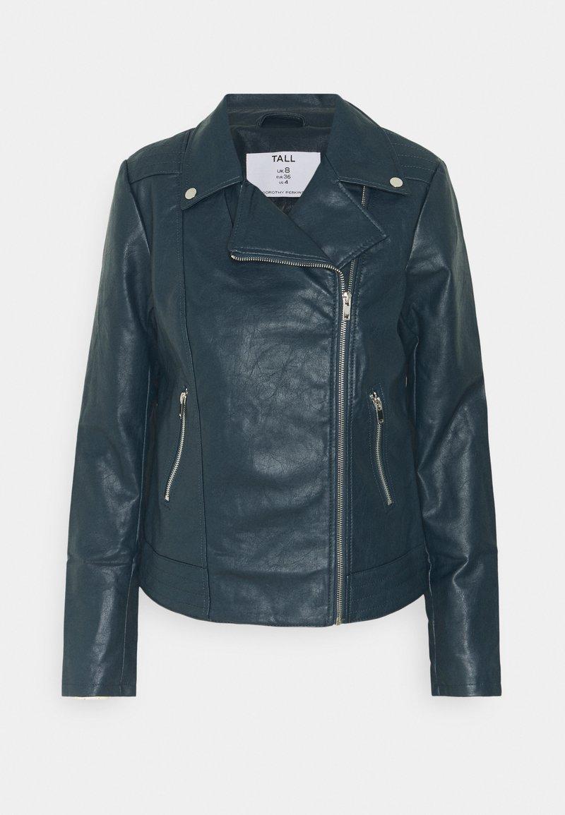 Dorothy Perkins Tall - BIKER JACKET - Faux leather jacket - petrol