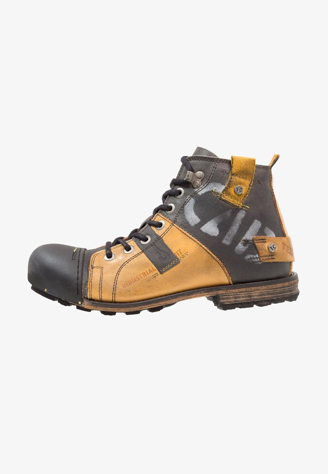 INDUSTRIAL - Lace-up ankle boots - yellow/black