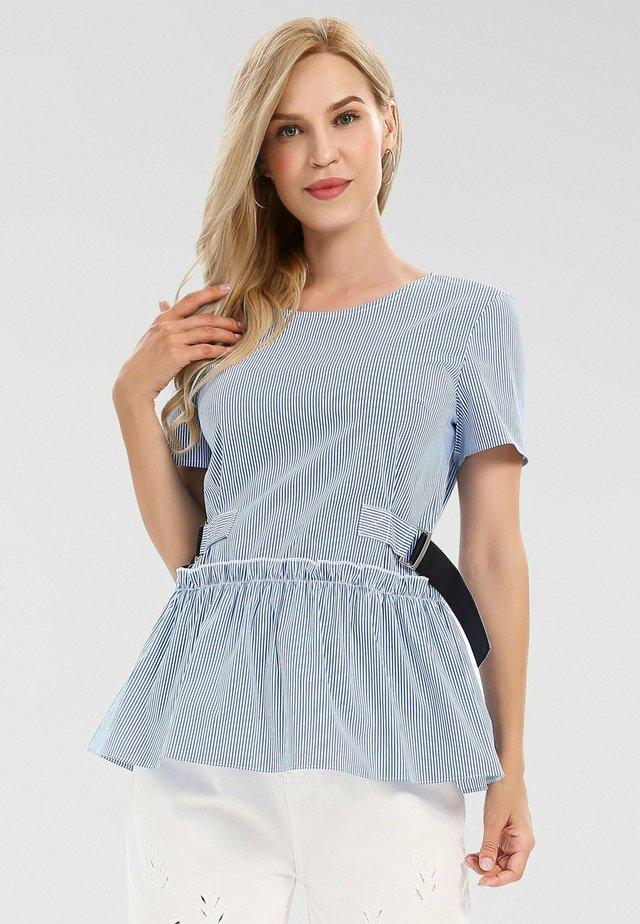Blouse - weiß-blau
