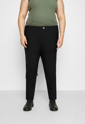 PLUS RIOT THIGH OPEN KNEE SLASH MOM - Relaxed fit jeans - black