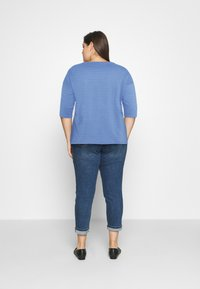 MY TRUE ME TOM TAILOR - BATWING WITH PLEAT - Print T-shirt - marina bay blue - 2