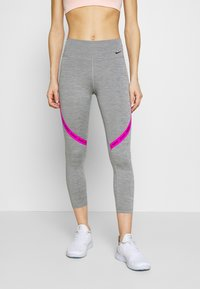 Nike Performance - ONE CROP - Tights - iron grey/fire pink/black - 0