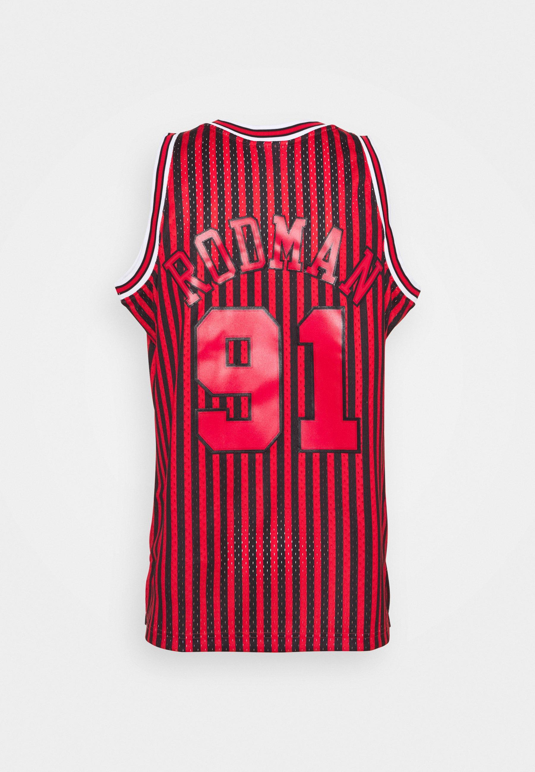 Mitchell & Ness NBA CHICAGO BULLS STRIPED SWINGMAN RODMAN - Article de supporter - red