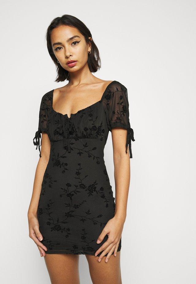 GYPSY FLOCK DEVORE DRESS - Day dress - black