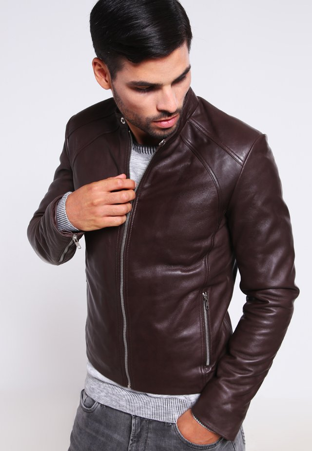 LENI - Leather jacket - brown