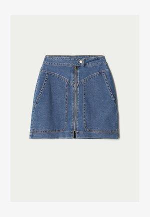 HOHEM BUND UND REISSVERSCHLUSS - Denim skirt - blu jeans