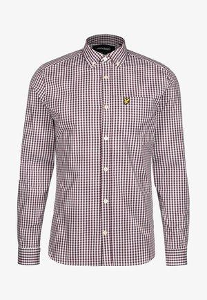 SLIM FIT GINGHAM  - Shirt - burgundy / white