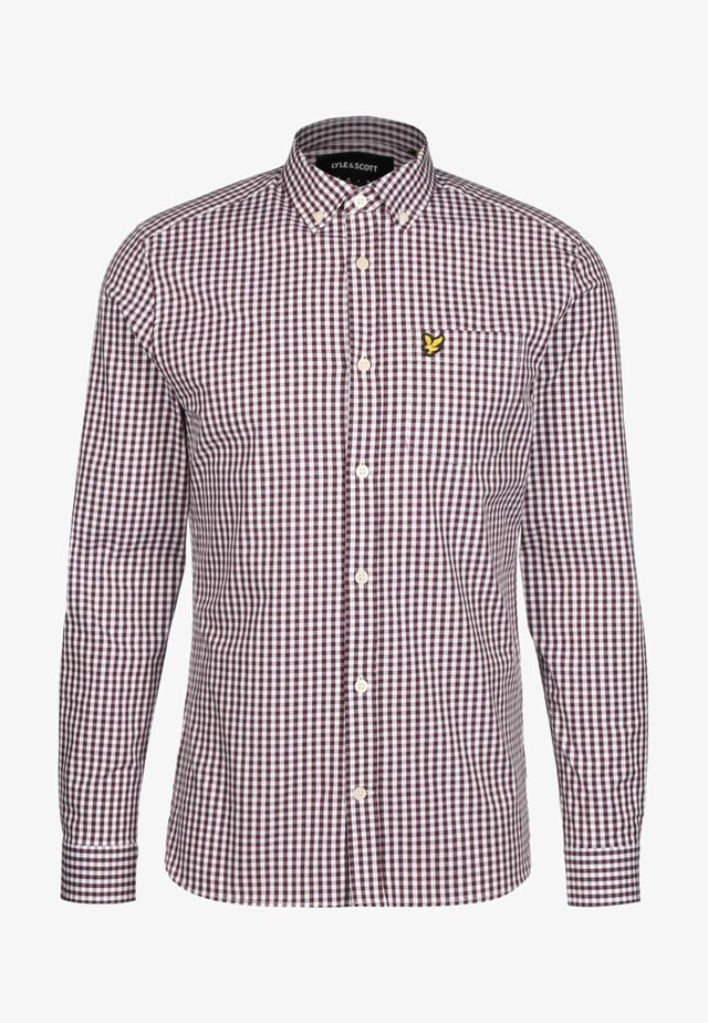 SLIM FIT GINGHAM  - Camicia - burgundy / white