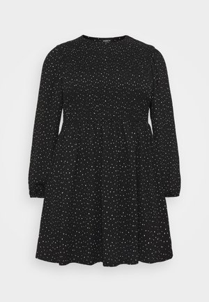 SHIRRED SKATER DRESS - Day dress - black