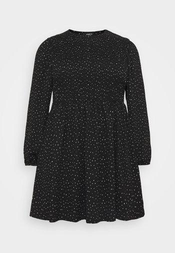 SHIRRED SKATER DRESS - Day dress - black