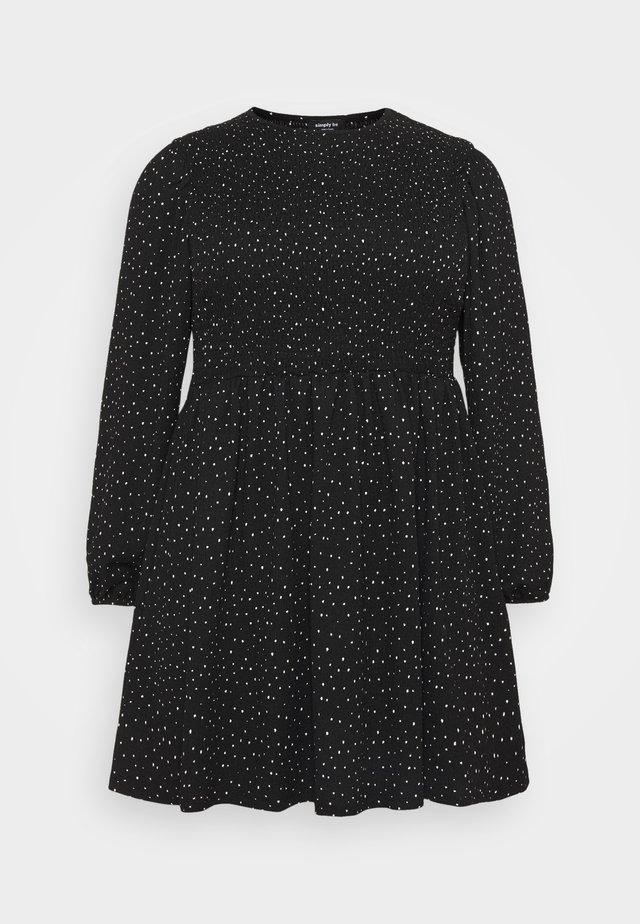 SHIRRED SKATER DRESS - Korte jurk - black