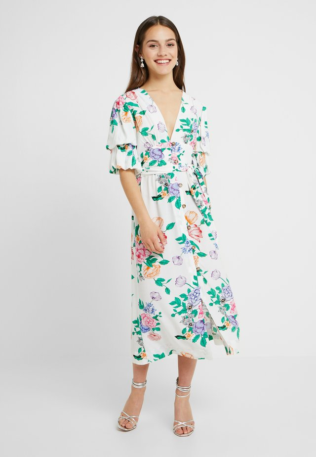 FRIEDA FLORAL PUFF - Robe longue - white