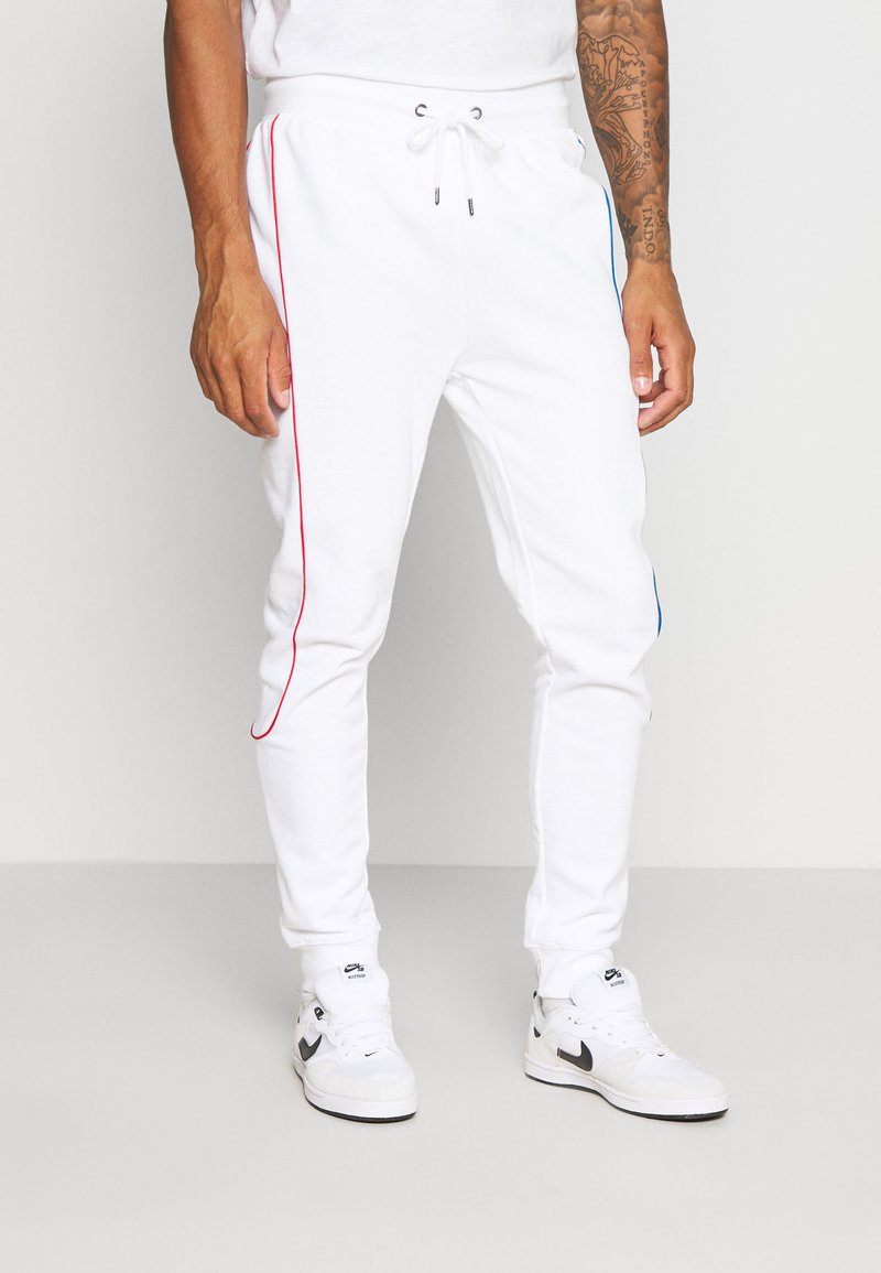 Topman - PRIMARY PIPED - Tracksuit bottoms - white