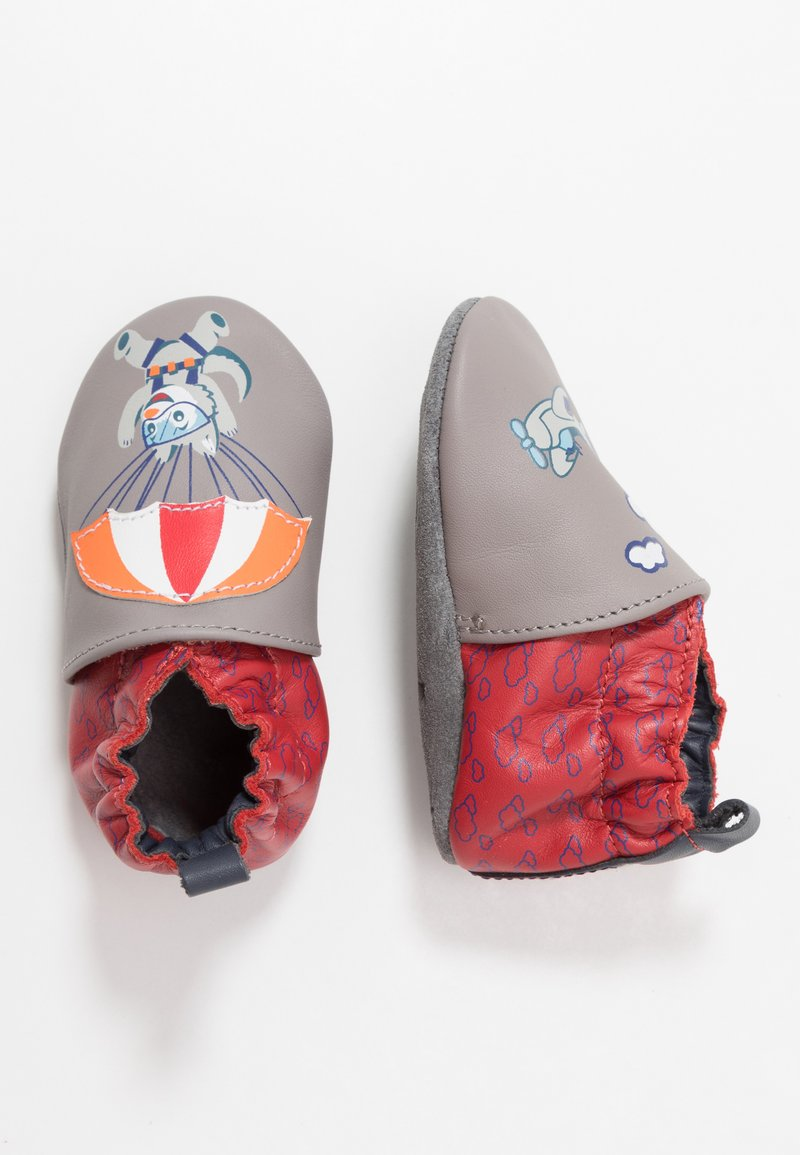 Robeez - HAPPY WOLF - First shoes - gris/rouge
