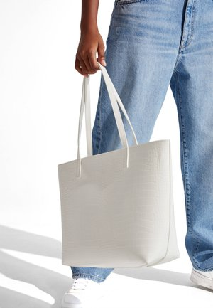 MIT KROKOPRÄGUNG - Shopping Bag - white