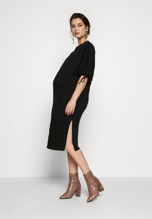 DRAWSTRING BALOON SLEEVE COLLUMN - Jersey dress - black