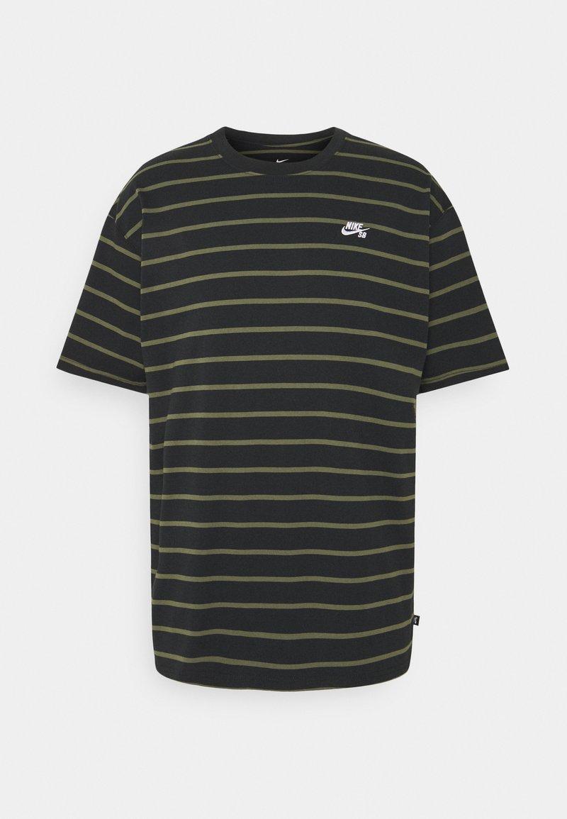 Nike SB - STRIP TEE UNISEX - Print T-shirt - black/khaki