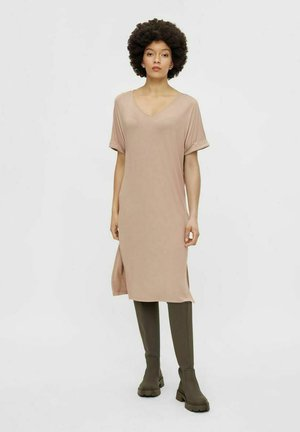 PCNEORA FOLD UP DRESS - Jerseyjurk - warm taupe