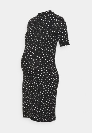 MLELAINA DRESS - Jersey dress - black/snow white dots