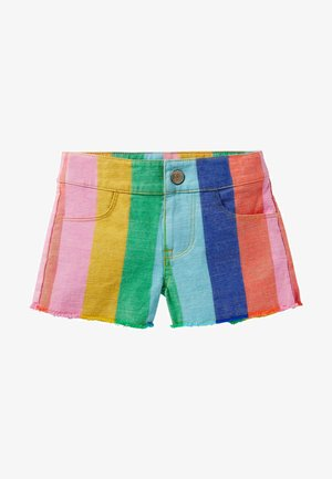 Denim shorts - bunt regenbogenfarbene streifen