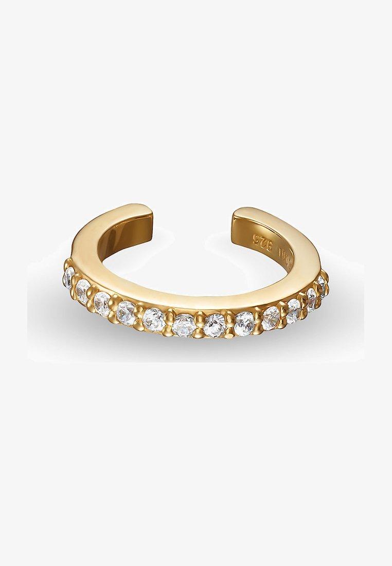 QOOQI - DAMEN-EINZELNER OHRSCHMUCK EAR CUFF 925ER SILBER 12 ZIRKON - Earrings - gelbgold