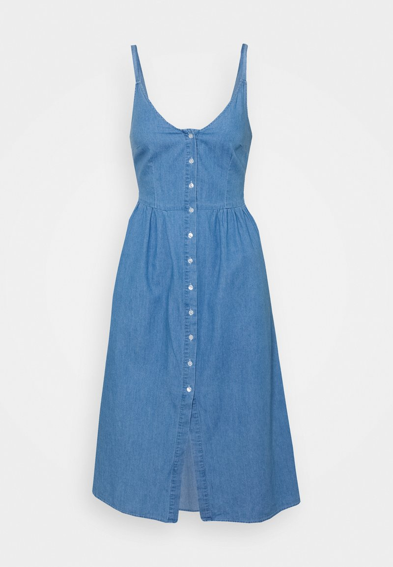 VILA PETITE - VIFANZI MIDI STRAP DRESS - Denimové šaty - light blue denim
