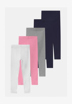 5 PACK - Leggings - grey/dark blue/pink